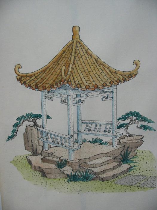 园林景观设计亭子手绘效果图分享展示