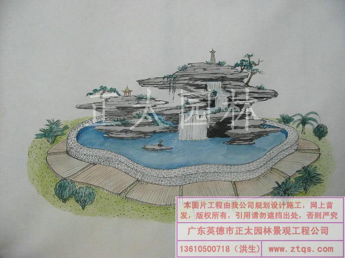 陈国姬手绘图 英石叠石假山水景效果图高清图片
