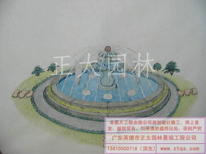 陈国姬手绘图-喷泉 - 承接园林工程|假山水景|塑假山