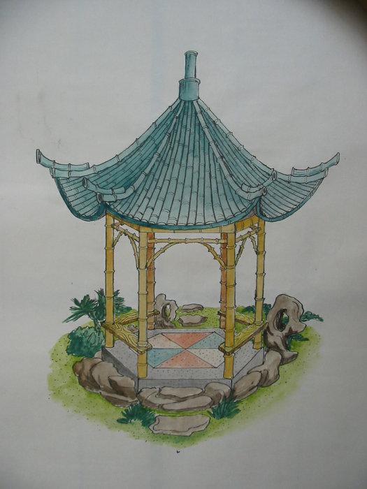 陈国姬手绘图-塑竹亭,塑松树皮等各式亭效果图