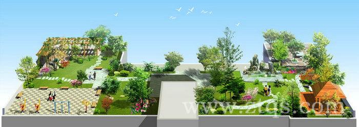 楼顶空中花园,假山凉亭棚架,园林绿化效果图(仅供参考)