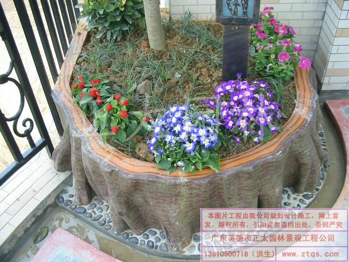 英德仙水花园天台花园-彩色水泥塑老树根花池